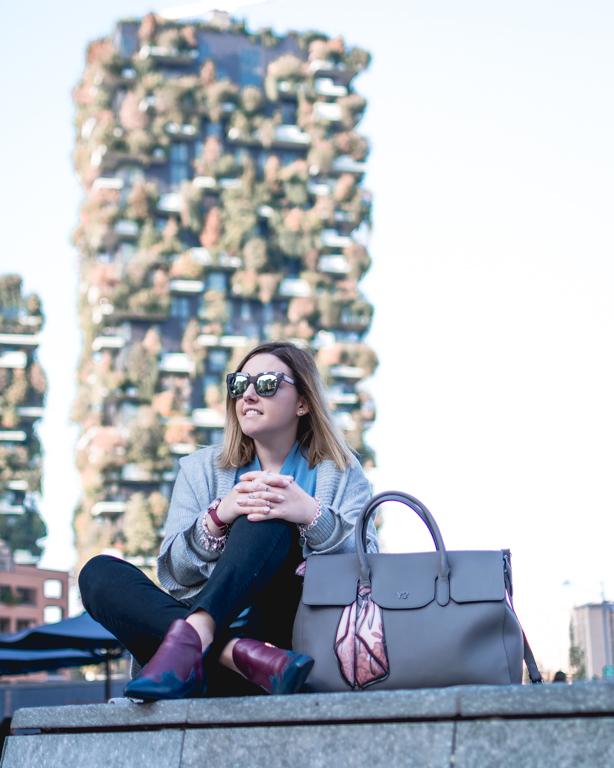 Autunno a Milano: grigio e azzurro con il mio look VERYSIMPLE