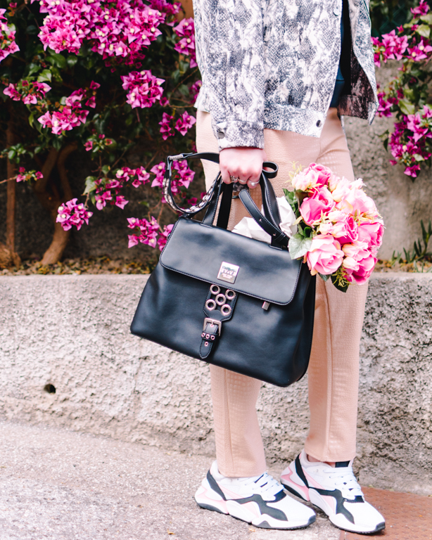Partire dagli accessori per creare un look, borsa Evve Milano e scarpe Puma trovate su Spartoo in primo piano con il mio look Femme Luxe Finery
